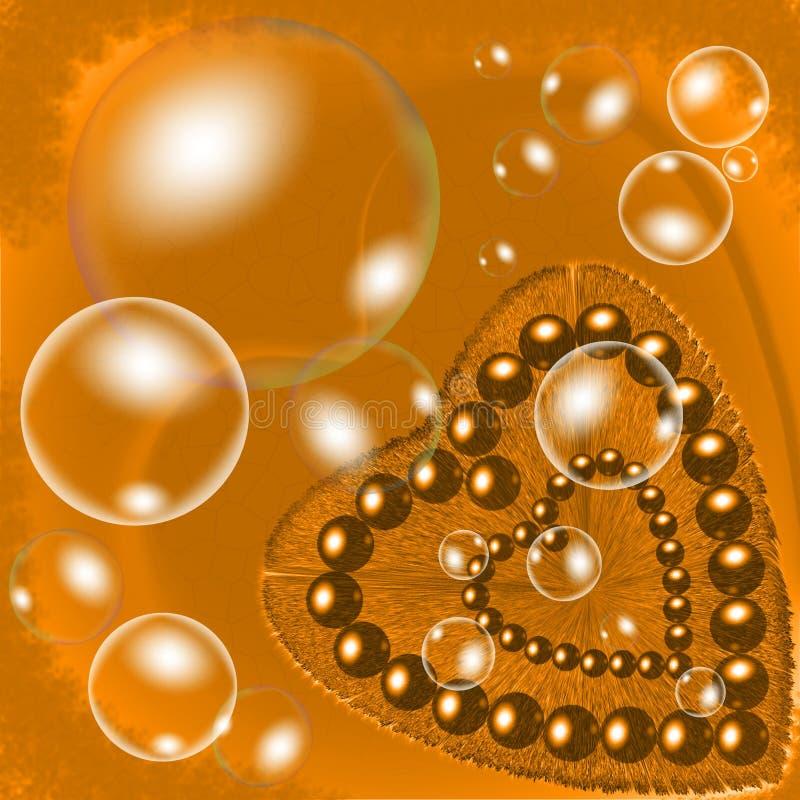 Złoty owłosiony serce z beeds i bąblami ma oświetleniowego skutka komputer wytwarzającą ilustrację i wizerunku projekt royalty ilustracja
