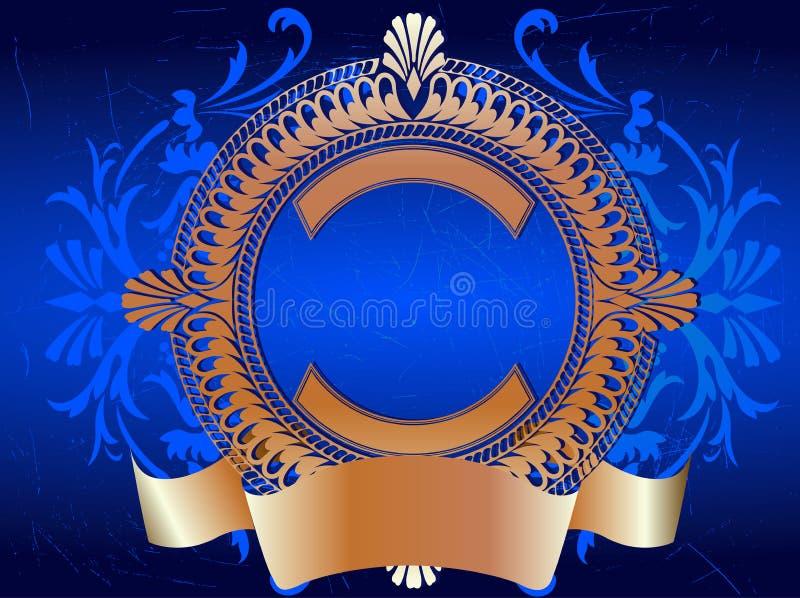 złoty ozdobny banner niebieski ilustracji