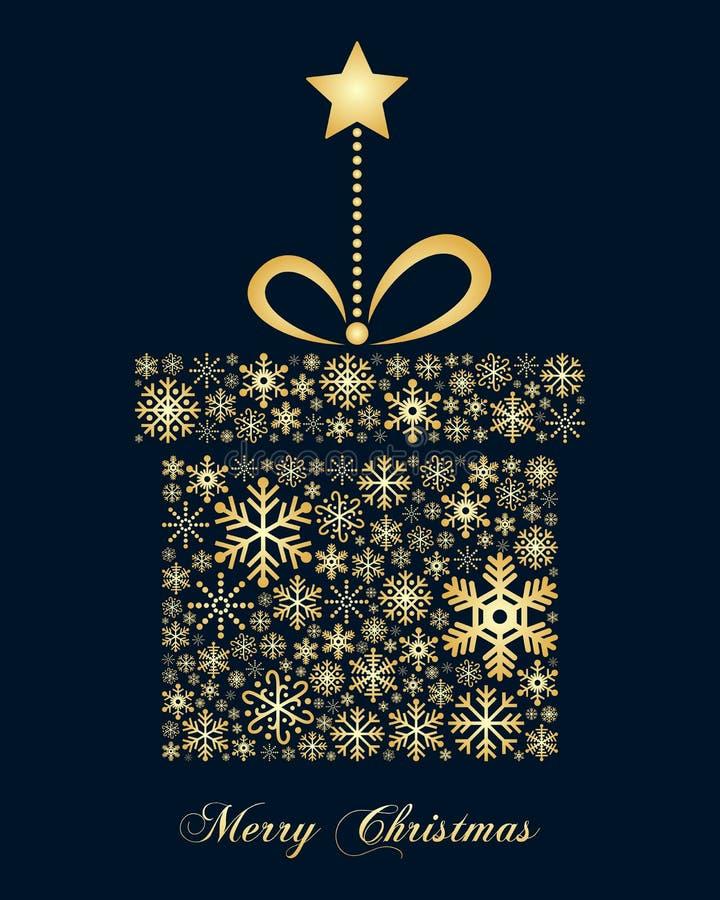Złoty płatków śniegu bożych narodzeń prezent ilustracji