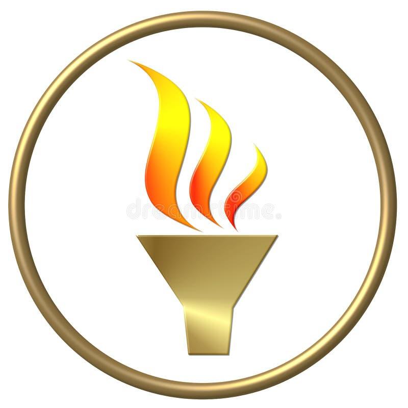 złoty, płomień olimpijski royalty ilustracja