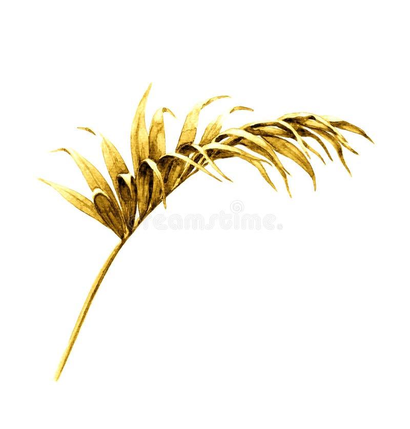 Złoty Palmowy liść ilustracja wektor