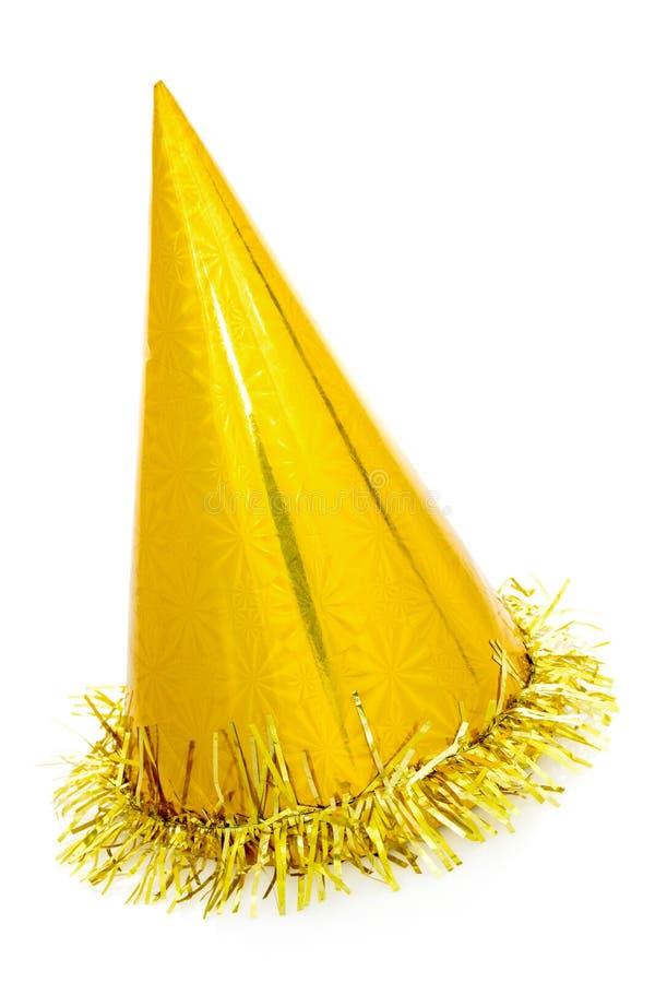 Złoty partyjny kapeluszu rożek zdjęcie royalty free