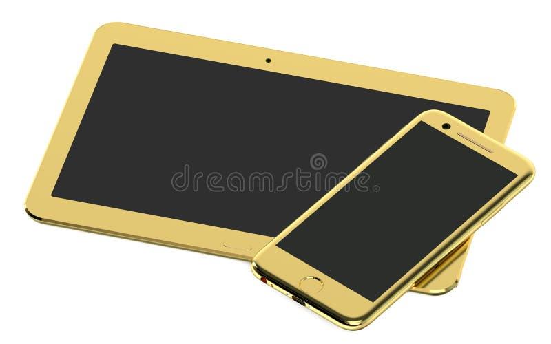 Złoty pastylka komputer, Smartphone i ilustracja wektor
