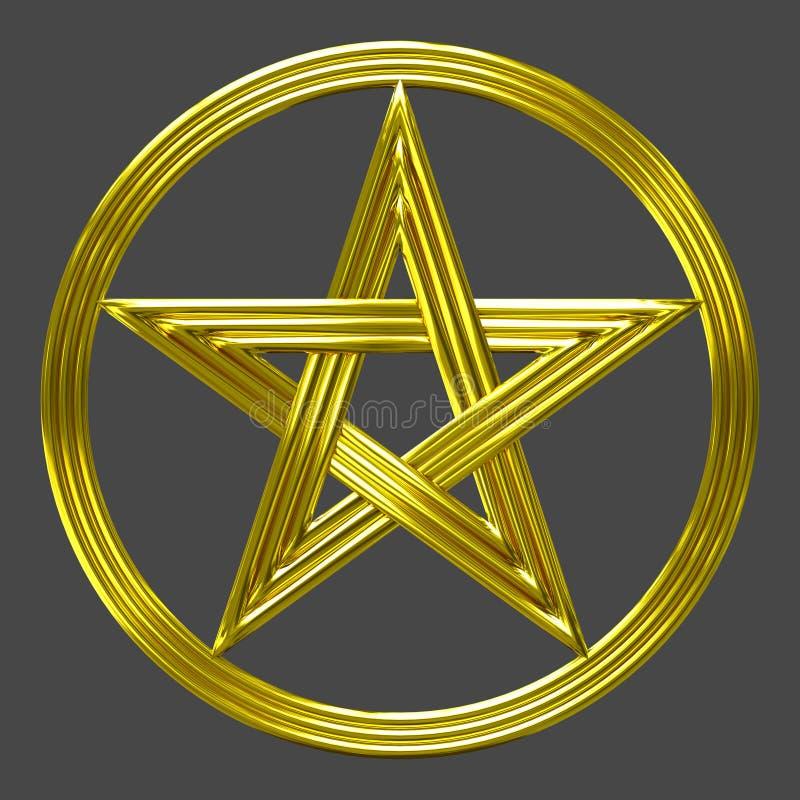 Złoty pentacle odizolowywający gwiazdy monety symbol ilustracja wektor