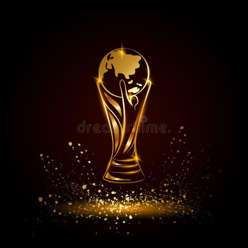 Złoty piłki nożnej trofeum z kulą ziemską ilustracji