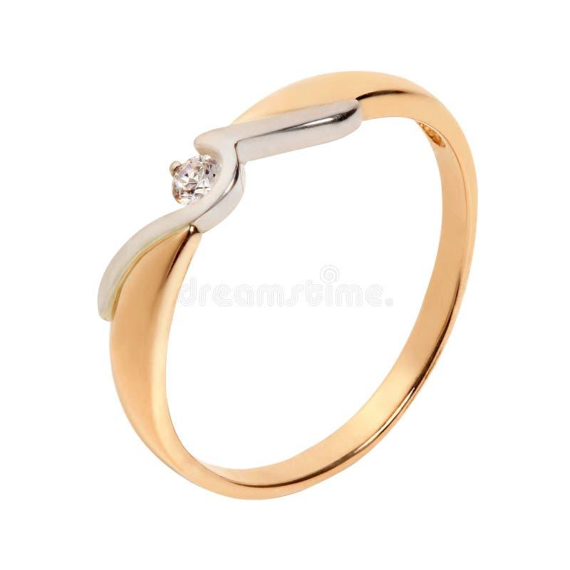 Złoty pierścień z diamentem obrazy royalty free