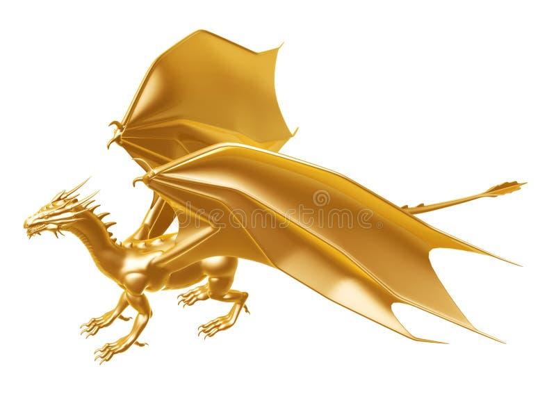 Złoty pożarniczy smok royalty ilustracja