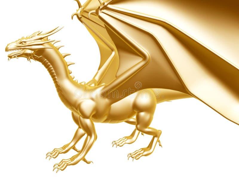 Złoty pożarniczy smok ilustracji