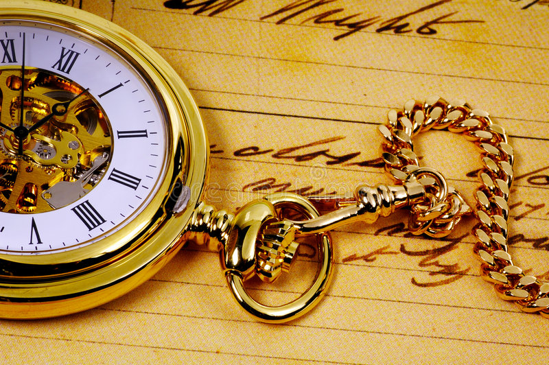 złoty pocketwatch obrazy royalty free
