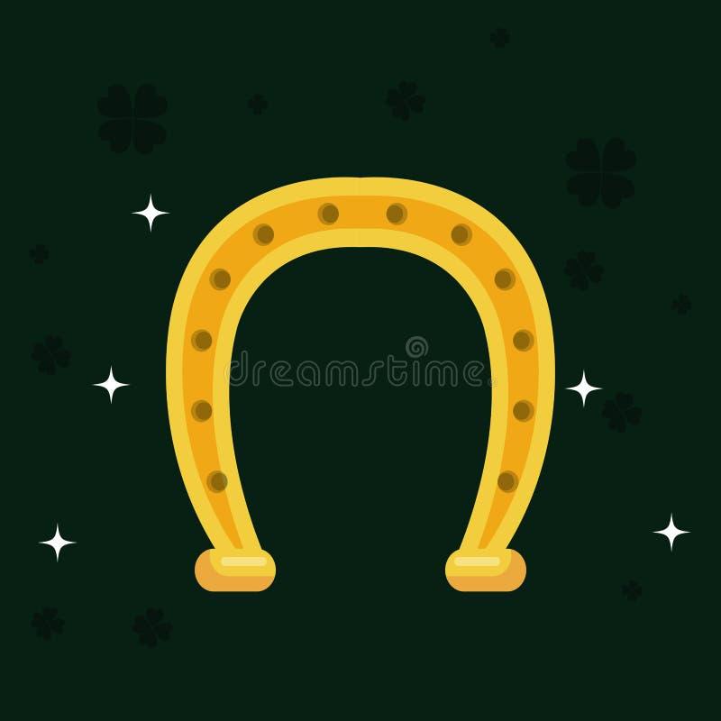 Złoty podkowa świętego Patrick dzień royalty ilustracja