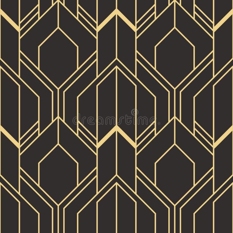 złoty prążkowany kształt Abstrakcjonistyczny art deco bezszwowy luksusowy tło ilustracji
