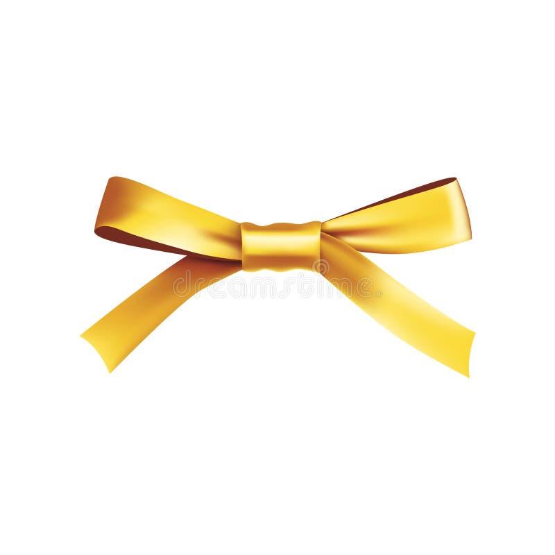 Złoty prezenta łęk od atłas cienkiej taśmy ilustracji