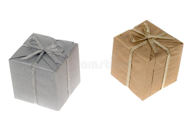 złoty prezentu srebra fotografia stock