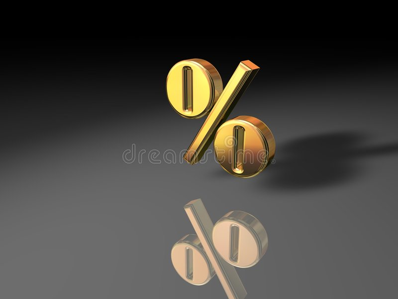 złoty procent symbol ilustracji