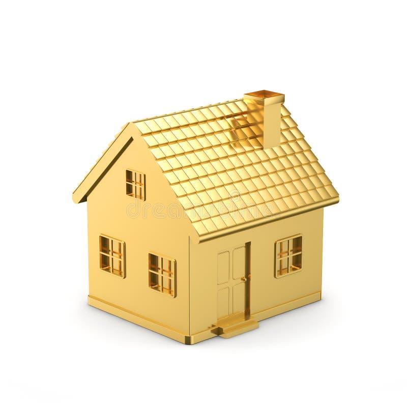 Złoty prosty dom ilustracja wektor