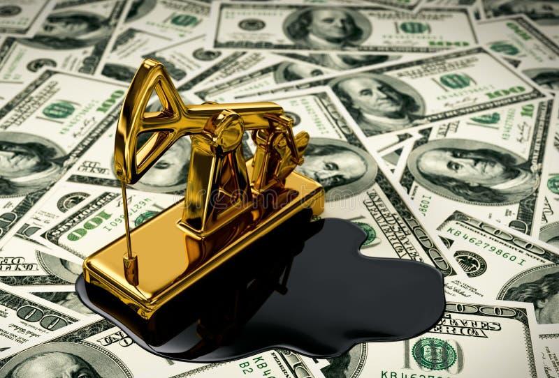 Złoty Pumpjack I Rozlewający olej Na pieniądze ilustracji