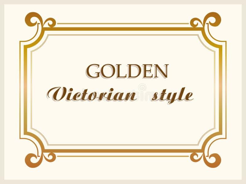 Złoty ramowy luksusowy wiktoriański styl, kwiecista rabatowa dekoracja wektor ilustracja wektor