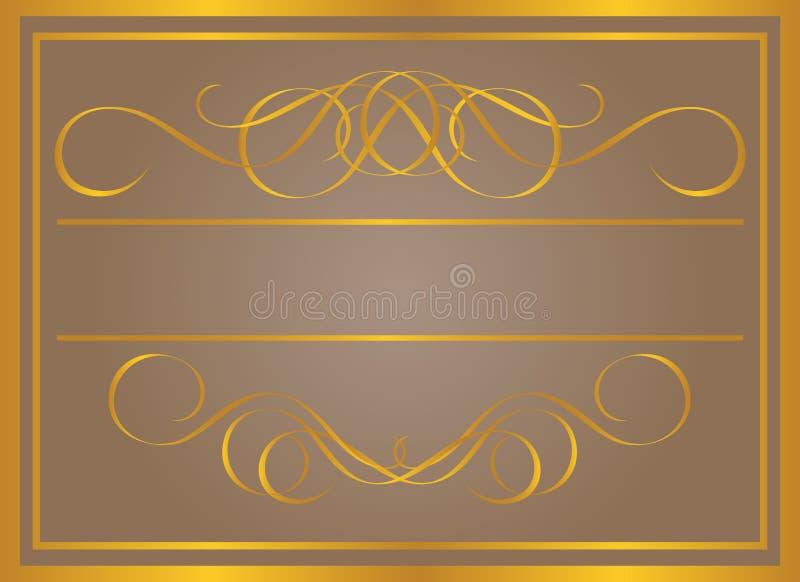 złoty ramowy rocznik ilustracja wektor