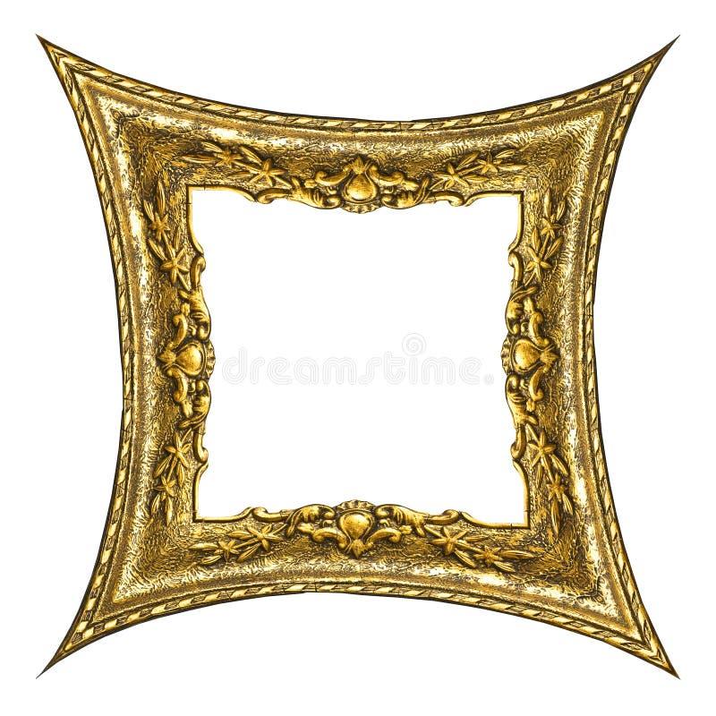 złoty ramowy stary prostokąta. fotografia stock