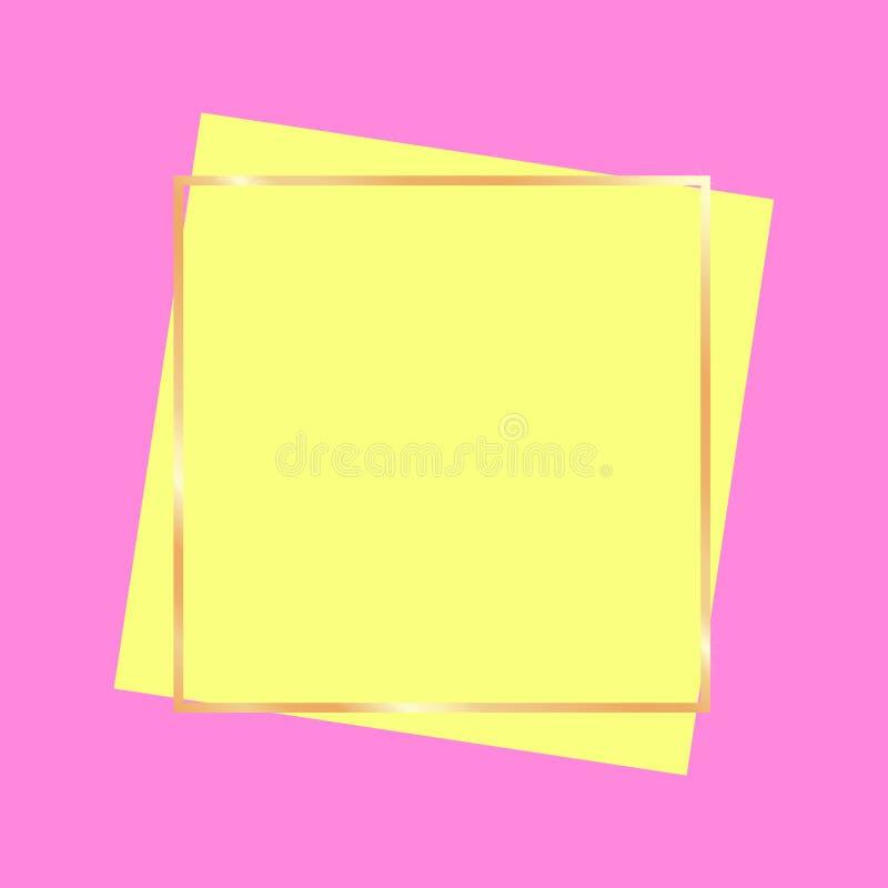 Złoty ramowy sztandar dla reklama jaskrawych kolorów ilustracji