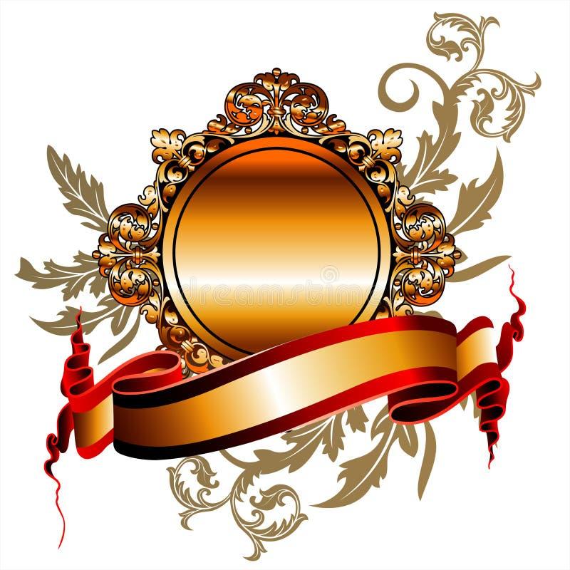 złoty ramowy tasiemkowy wektora ilustracja wektor