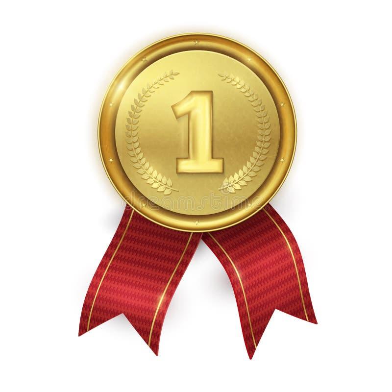 Złoty realistyczny medal z czerwonymi faborkami odizolowywającymi na białym backgr royalty ilustracja