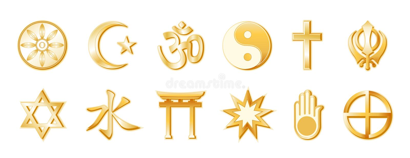 złoty religia biały świat ilustracji