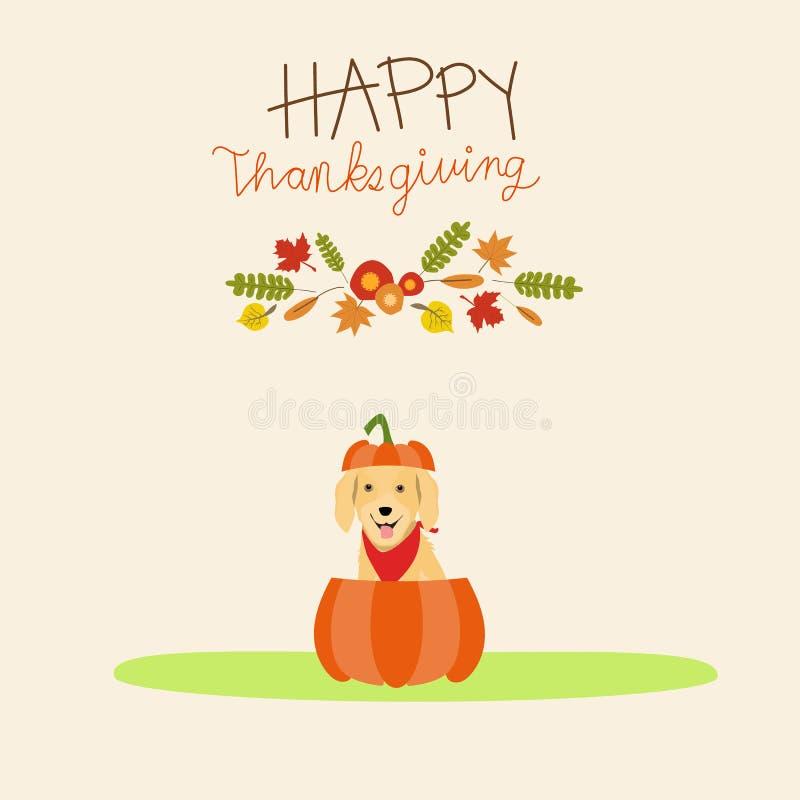 Złoty retriver pies z bani jesieni sezonem dziękuje dawać Il ilustracji