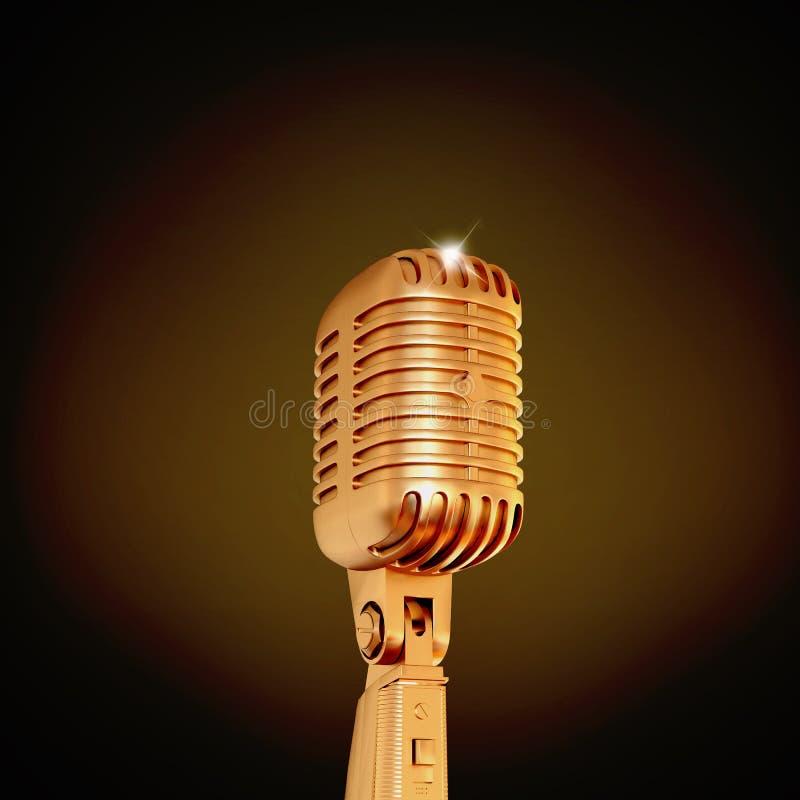 Złoty retro mikrofon na czarnym tle ilustracja wektor
