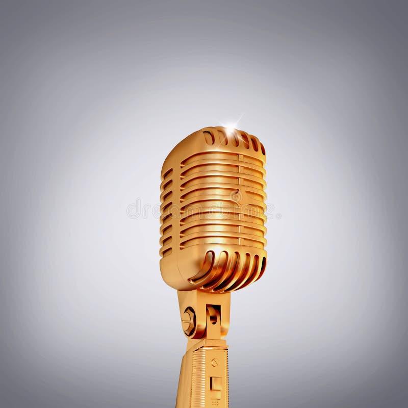 Złoty retro mikrofon na popielatym tle zdjęcia stock