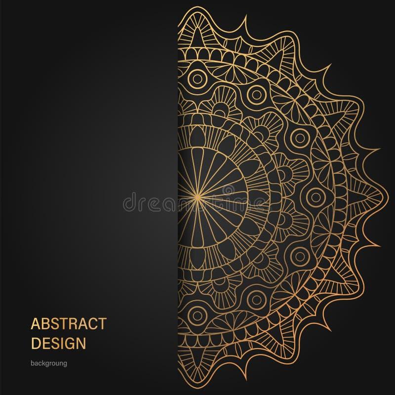 Złoty rocznika kartka z pozdrowieniami na białym tle Luksusowy ornamentu szablon Wielki dla zaproszenia, ulotka, menu royalty ilustracja