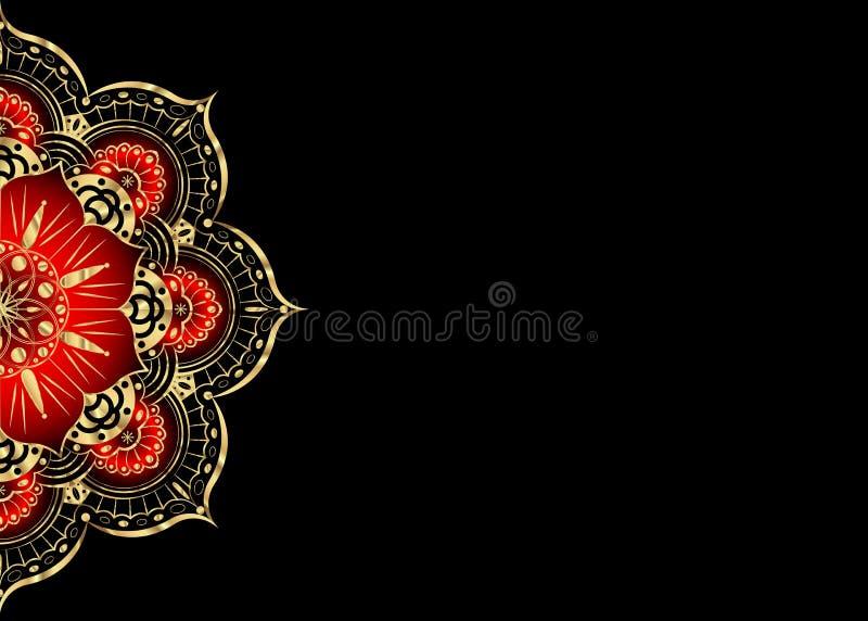 Złoty rocznika kartka z pozdrowieniami na czarnym tle Luksusowy ornamentu szablon Wielki dla zaproszenia, ulotka, menu, broszurka ilustracji