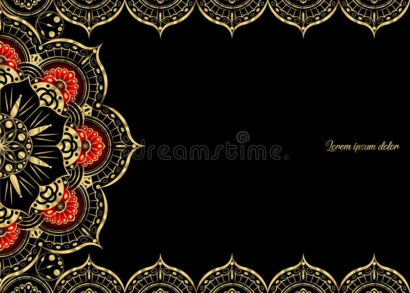 Złoty rocznika kartka z pozdrowieniami na czarnym tle Luksusowy ornamentu szablon Wielki dla zaproszenia, ulotka, menu, broszurka ilustracja wektor