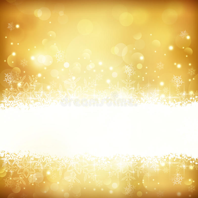 Złoty rozjarzony Bożenarodzeniowy tło z gwiazdami, płatkami śniegu i światłami, ilustracji