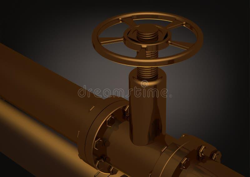Złoty rurociąg na czerni ilustracji