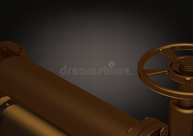Złoty rurociąg na czerni royalty ilustracja