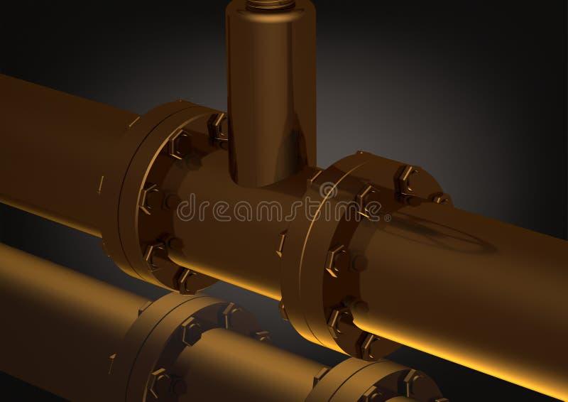 Złoty rurociąg na czerni ilustracja wektor