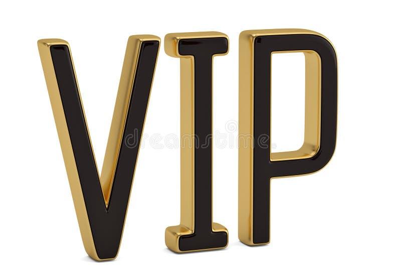 Złoty słowo vip odizolowywający na białej tła 3D ilustraci royalty ilustracja