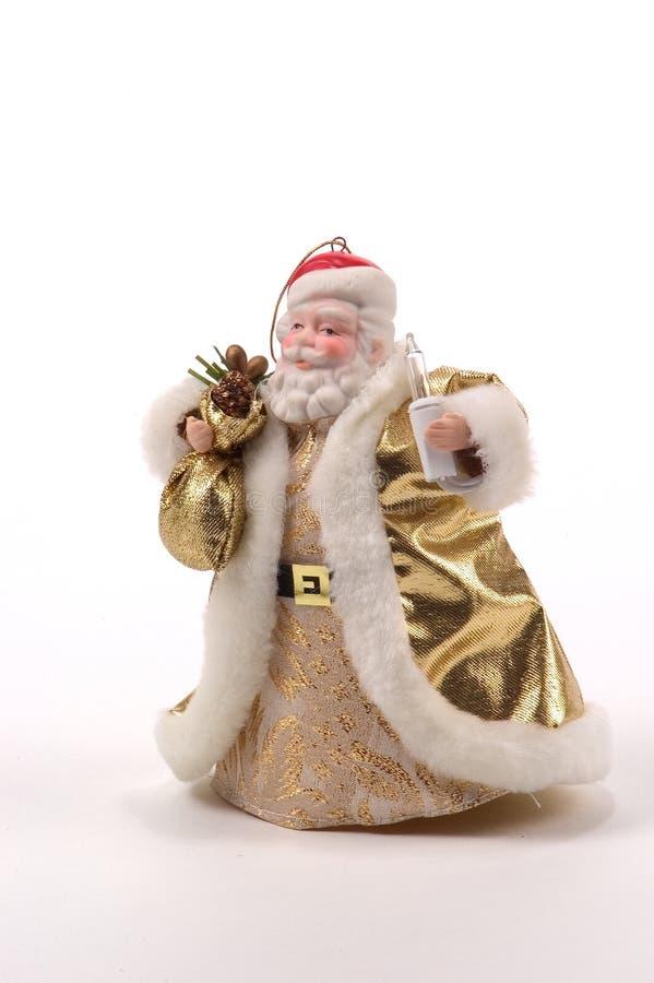 Złoty Santa Drzewny ornament fotografia royalty free