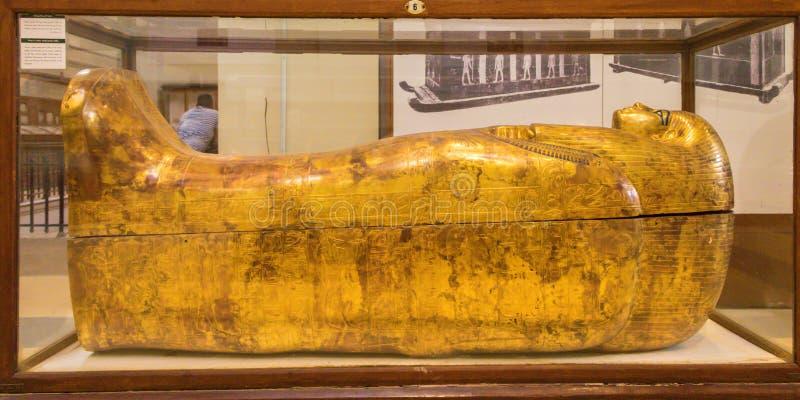Złoty sarkofag Egipski pharaoh obrazy royalty free