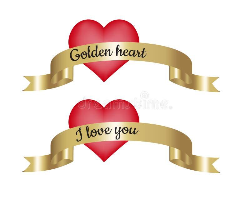 Złoty serce i ja kochamy was tekst na złotym faborku z czerwonym sercem royalty ilustracja