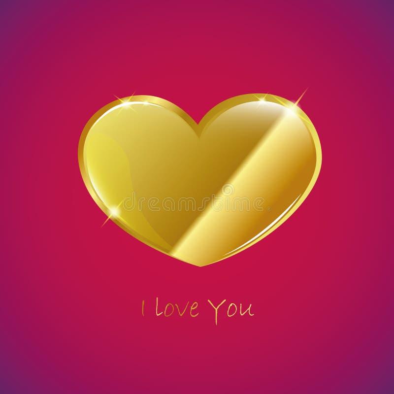 Złoty serce kocham ciebie royalty ilustracja