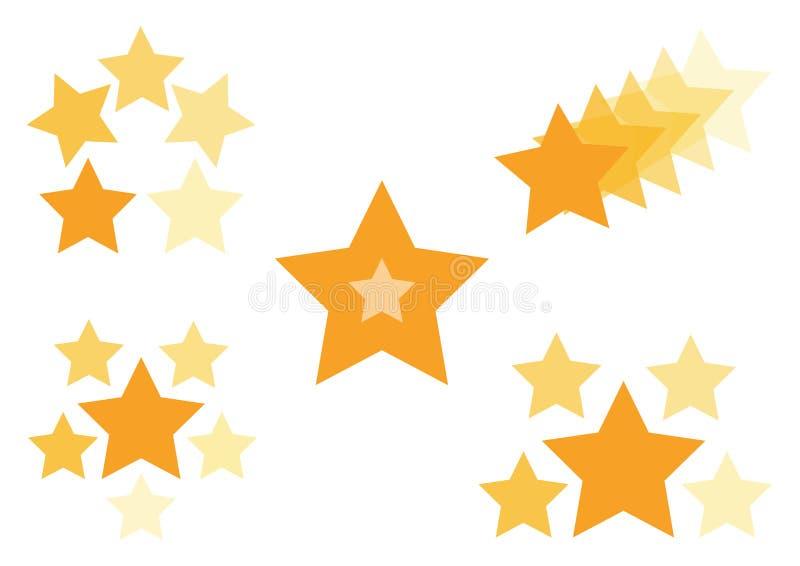 Złoty set ikony z gwiazdami, wektor ilustracja wektor