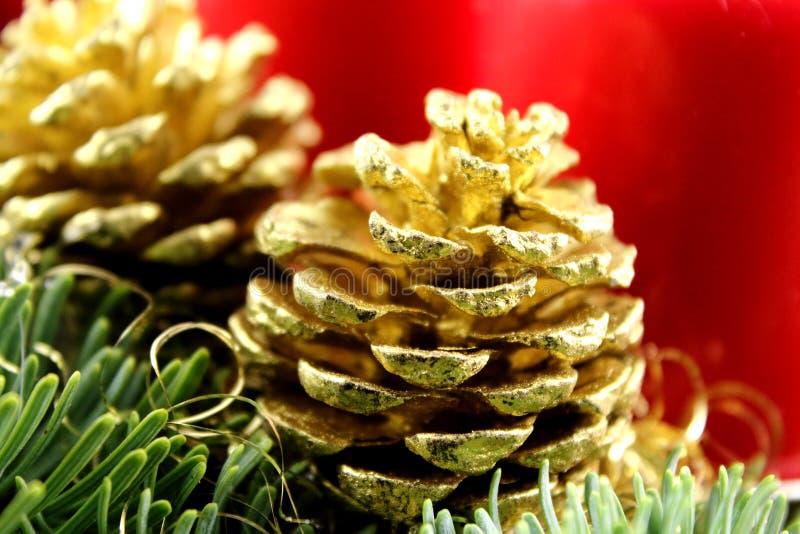 Złoty sosna rożek na boże narodzenie dekoraci z jedlinowymi i czerwonymi świeczkami fotografia stock