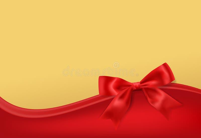 Złoty stary tło z czerwoną łęk dekoracją ilustracja wektor