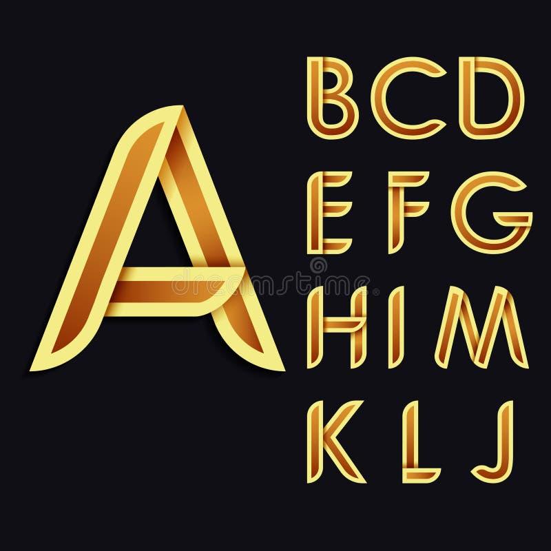 Złoty stylizowany śmiały Dekoracyjny wektorowy Łaciński abecadło Miękki koloru brzmienie listy royalty ilustracja