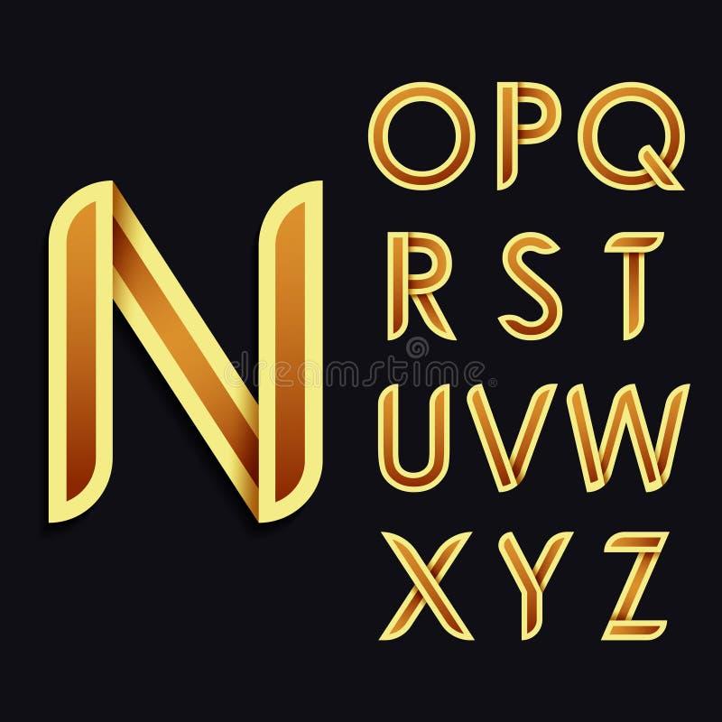 Złoty stylizowany śmiały Dekoracyjny wektorowy Łaciński abecadło Miękki koloru brzmienie listy ilustracja wektor