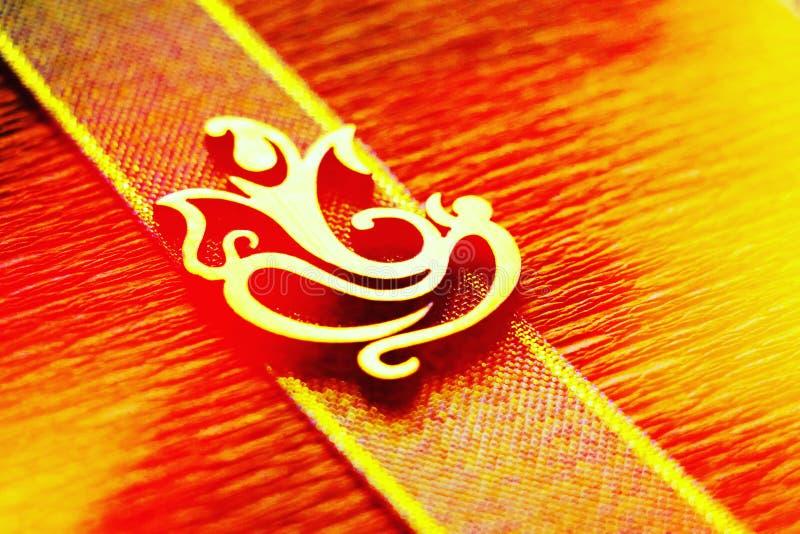 Złoty symbol władyka Ganesha fotografia stock