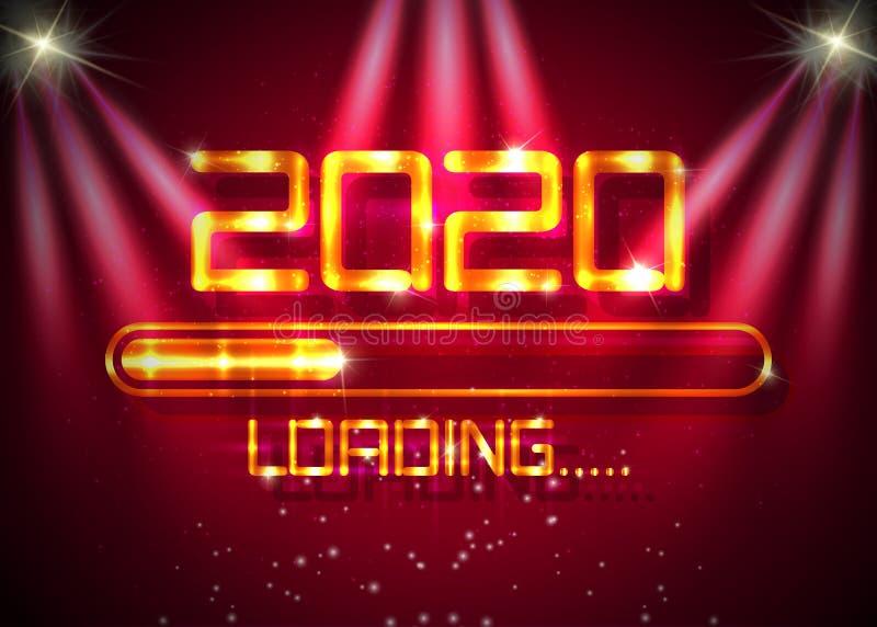 Złoty Szczęśliwy Nowy rok 2020 ze złotym stylem gry na ikonach Pasek postępu prawie osiąga nowy rok Luksusowy błyszczący metal ilustracji