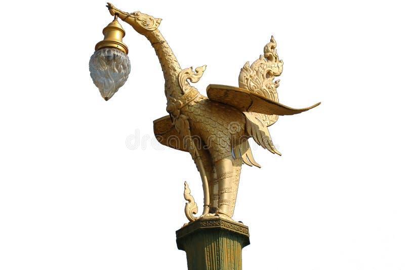 Złoty sztuki tajemnicy ptak, Latarniowy wieszak projektował łabędzią statuę odizolowywającą w białym tle, Tradycyjny antyczny uni fotografia stock